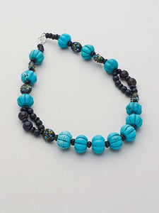 Turquoise Melon and Smokey Quartz Beaded Gem Necklace   SOLD