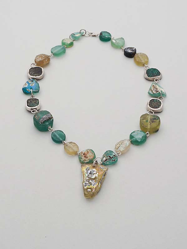 Roman Glass, Coin and Silver Necklace - SOLD