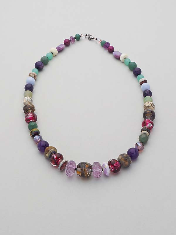 Luscious Handmade Glass and Gemstone Necklace