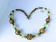 Load image into Gallery viewer, Jade, Unakite, Prehnite & Glass Beaded Necklace