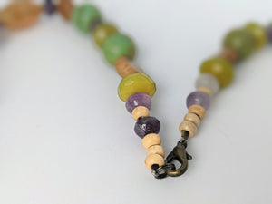 Unique Necklace of Sea Urchin Spines, Ametrine, Amethyst, Turquoise, Jade & Wood