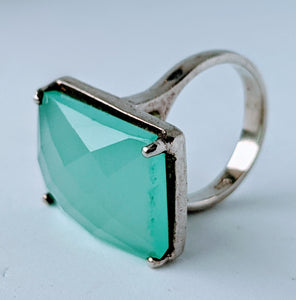 Faceted Aqua Chalcedony & Sterling Silver Ring