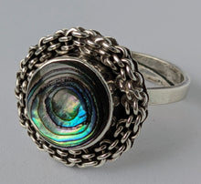 Load image into Gallery viewer, Vintage Abalone Shell & Sterling Silver Ring