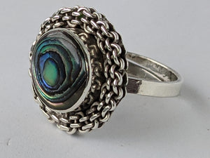 Vintage Abalone Shell & Sterling Silver Ring