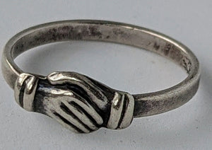 Sterling Silver Hands Clasped Friendship Ring
