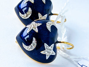 SOLD Blue Heart Shaped Enamel Earrings with Stars and Moons. -SOLD