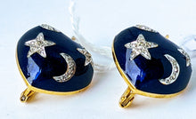 Load image into Gallery viewer, SOLD Blue Heart Shaped Enamel Earrings with Stars and Moons. -SOLD