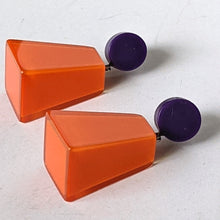 Load image into Gallery viewer, Resin Orange and Purple Geometric Shaped Earrings