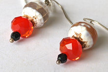 Load image into Gallery viewer, White Banded Apate & Red Crystal Earrings
