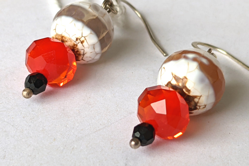 White Banded Apate & Red Crystal Earrings