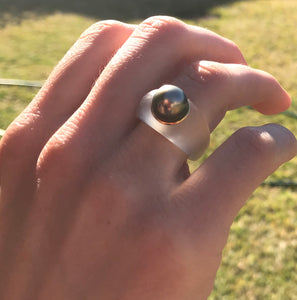 Vintage Gold, Tahitian Pearl and Resin Ring by Dallas James Power.