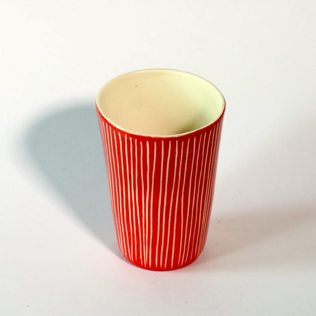 Red & White Stripy Beaker