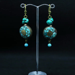 Unique Turquoise and Brass Earrings with Tibetan Mosaic Beads