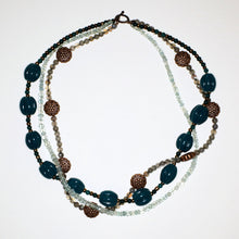 Load image into Gallery viewer, Aquamarine, Copper, Glass and Labradorite Necklace