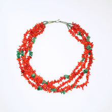 Load image into Gallery viewer, Vintage Multi-Strand Coral and Jade Necklace