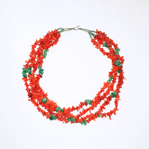Vintage Multi-Strand Coral and Jade Necklace