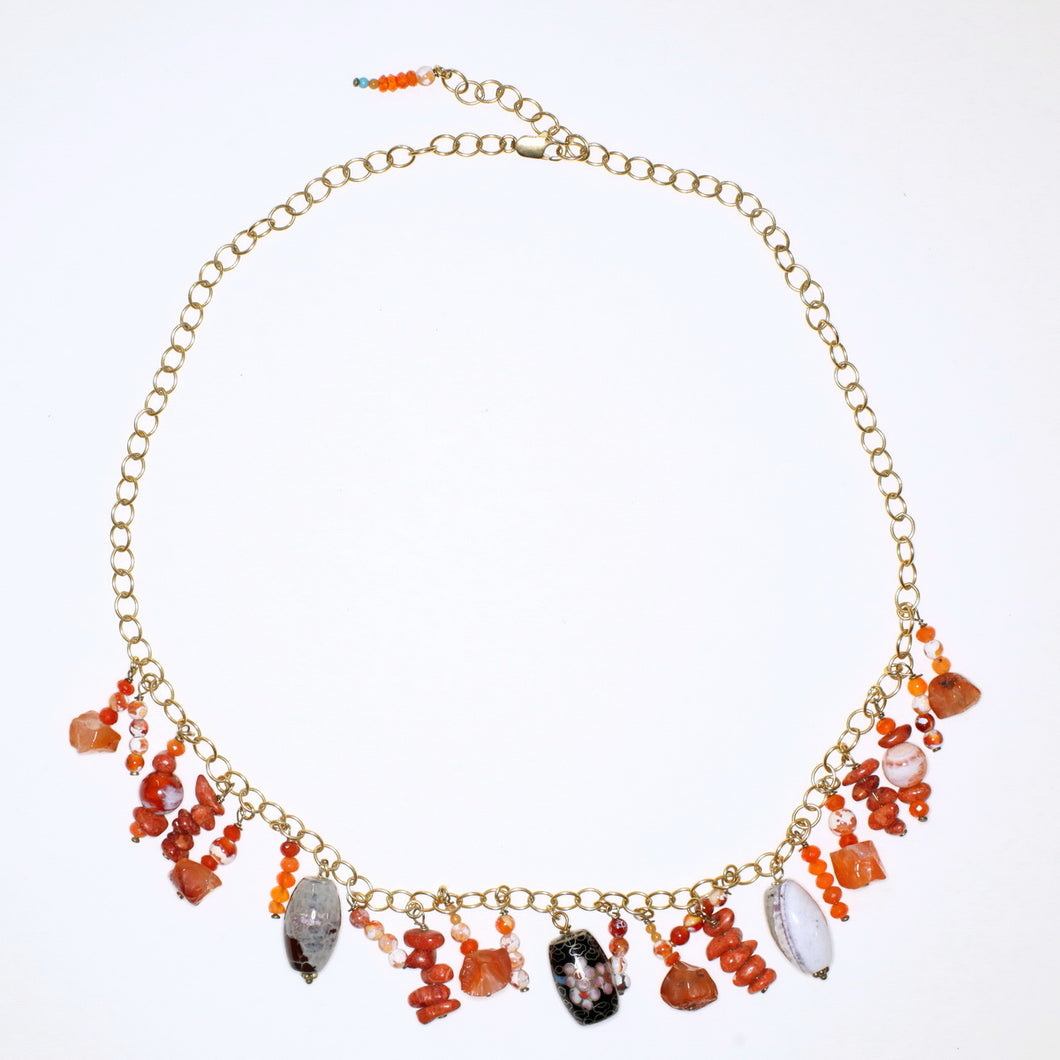 Rare Cloisonné, Fire Agate, Carnelian and Coral Necklace