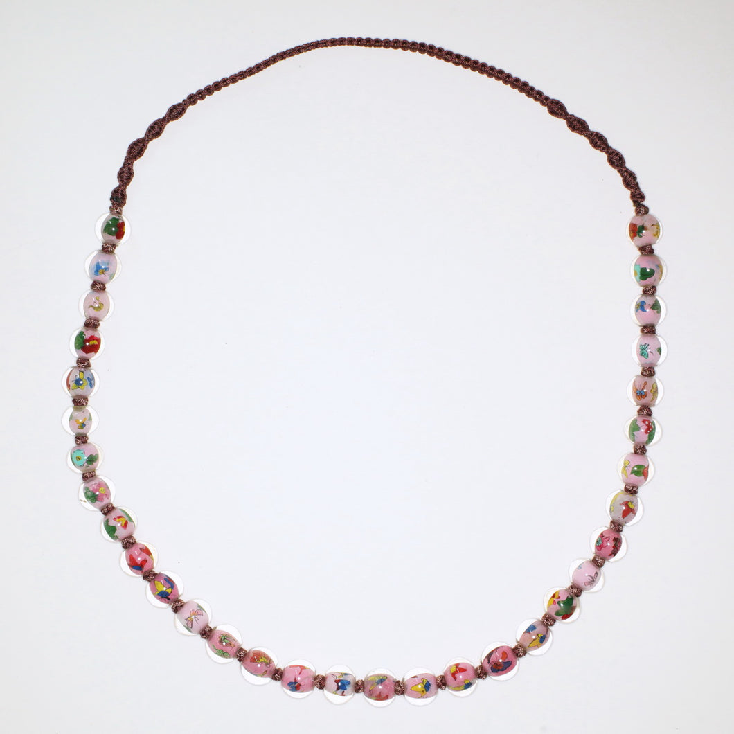 Vintage Hand Painted Glass Bead Necklace