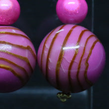 Load image into Gallery viewer, Pink Polymer Clay Earrings with Caramel Coloured Swirls