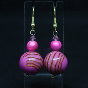 Pink Polymer Clay Earrings with Caramel Coloured Swirls