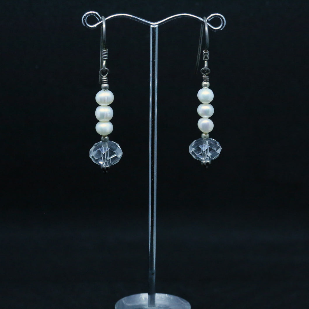 Earrings With Glass Beads & Pearls