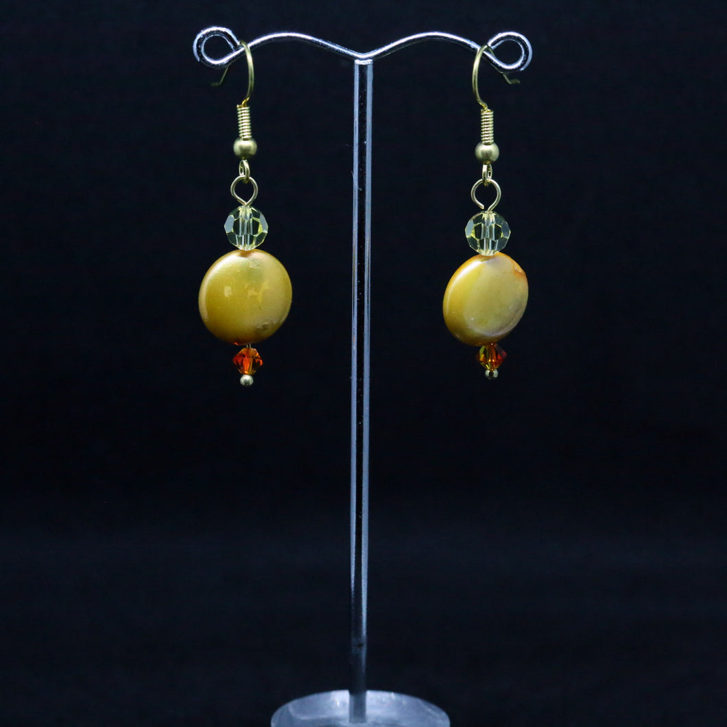 Crystal and Coin Pearl Earrings