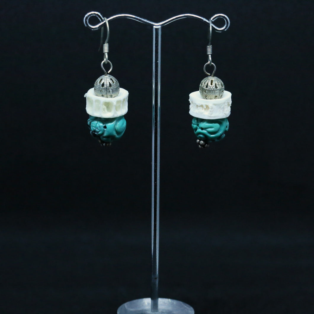 Carved Turquoise, Bone and Silver Earrings