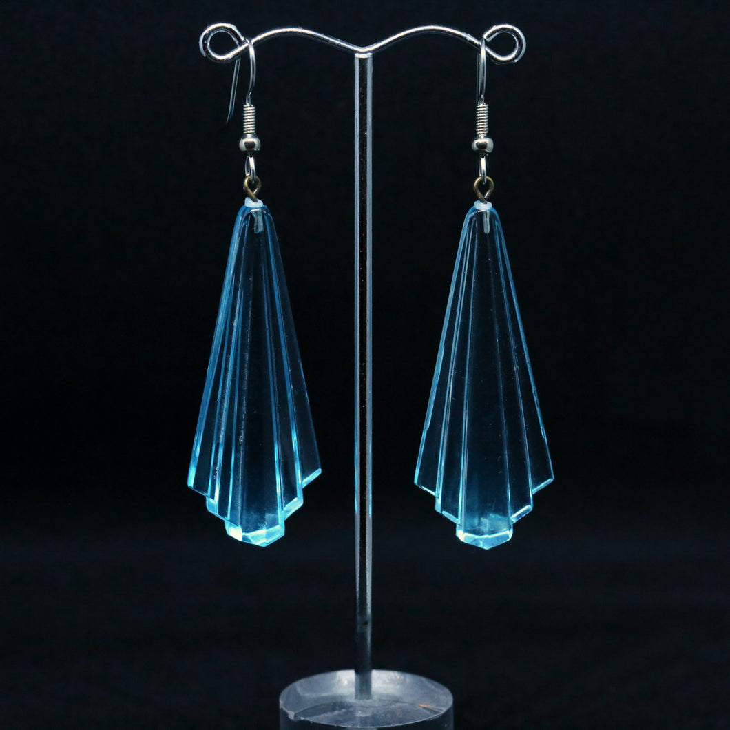 Aquamarine West German Retro Lucite Bead Earrings by Christine Smalley