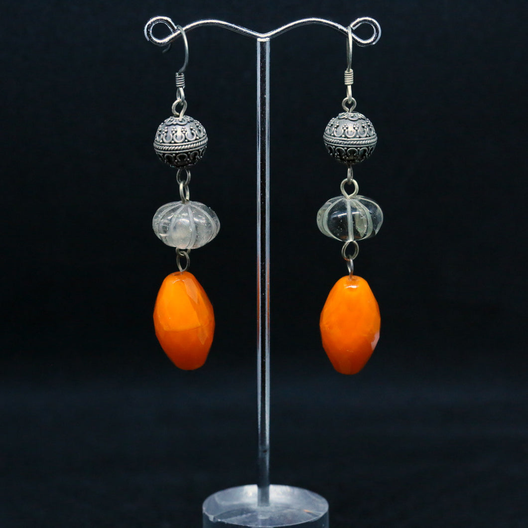 Orange Czech Firepolished Glass Beads, Stirling Silver and Smokey Quartz Earrings by Christine Smalley
