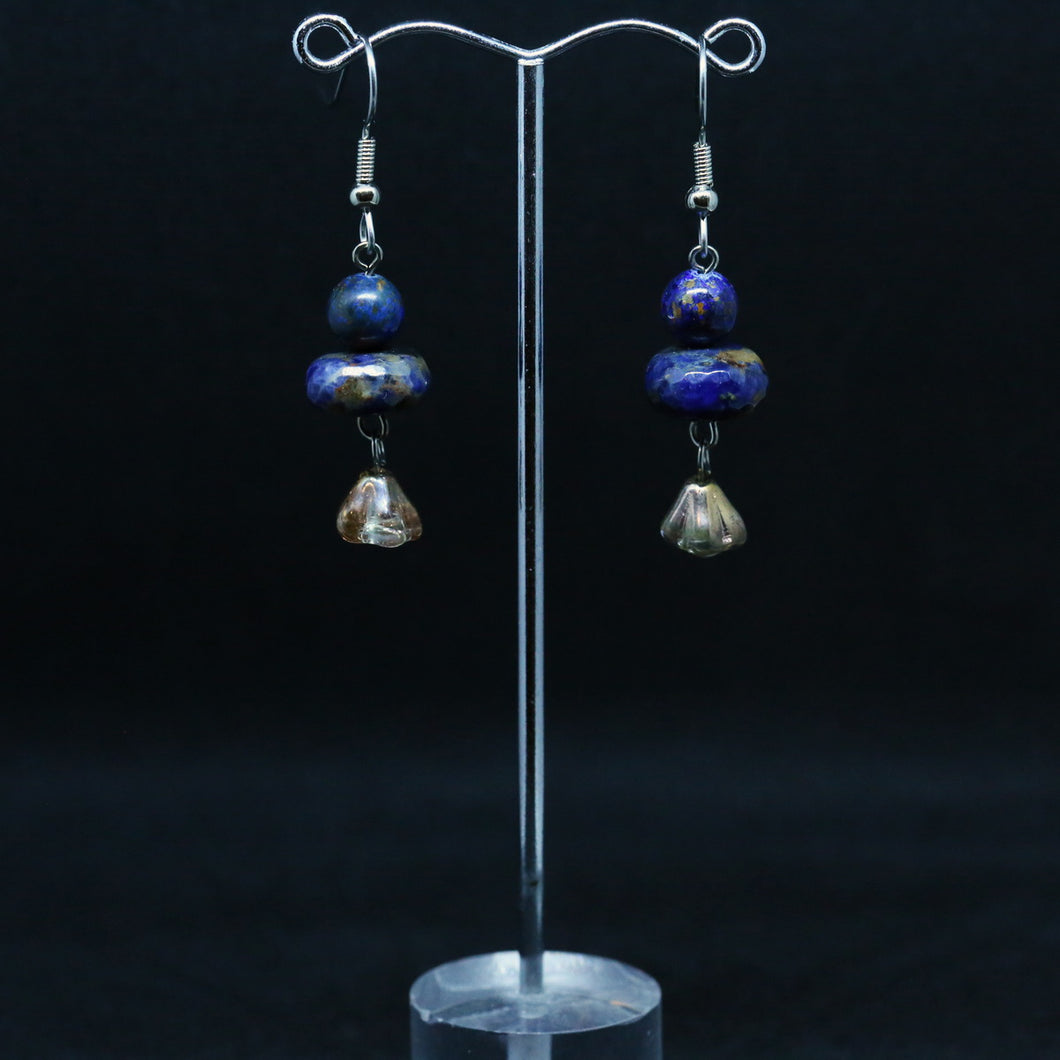 Azurite and Vintage Glass Bead Earrings
