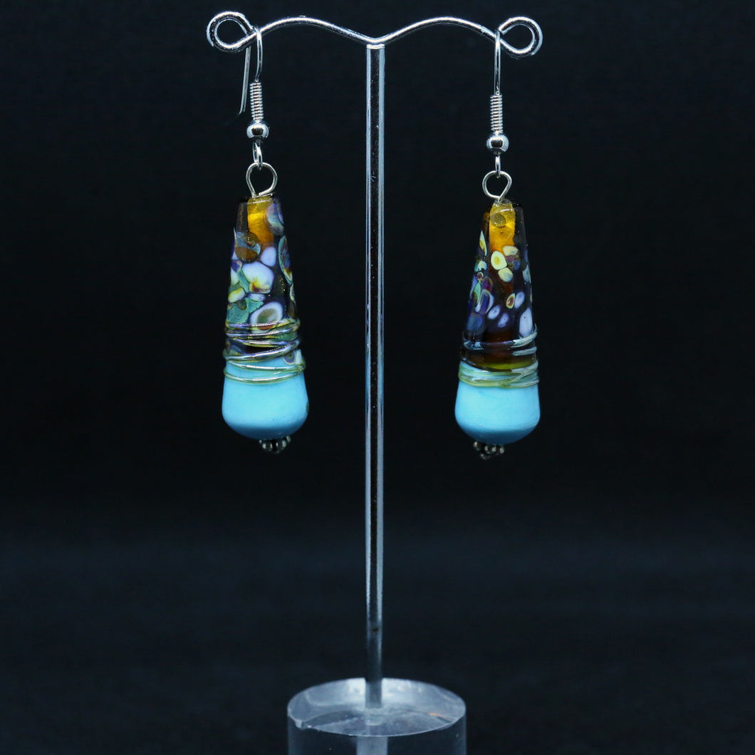 Handmade Teal and Topaz Glass Beads by Liz DeLuca