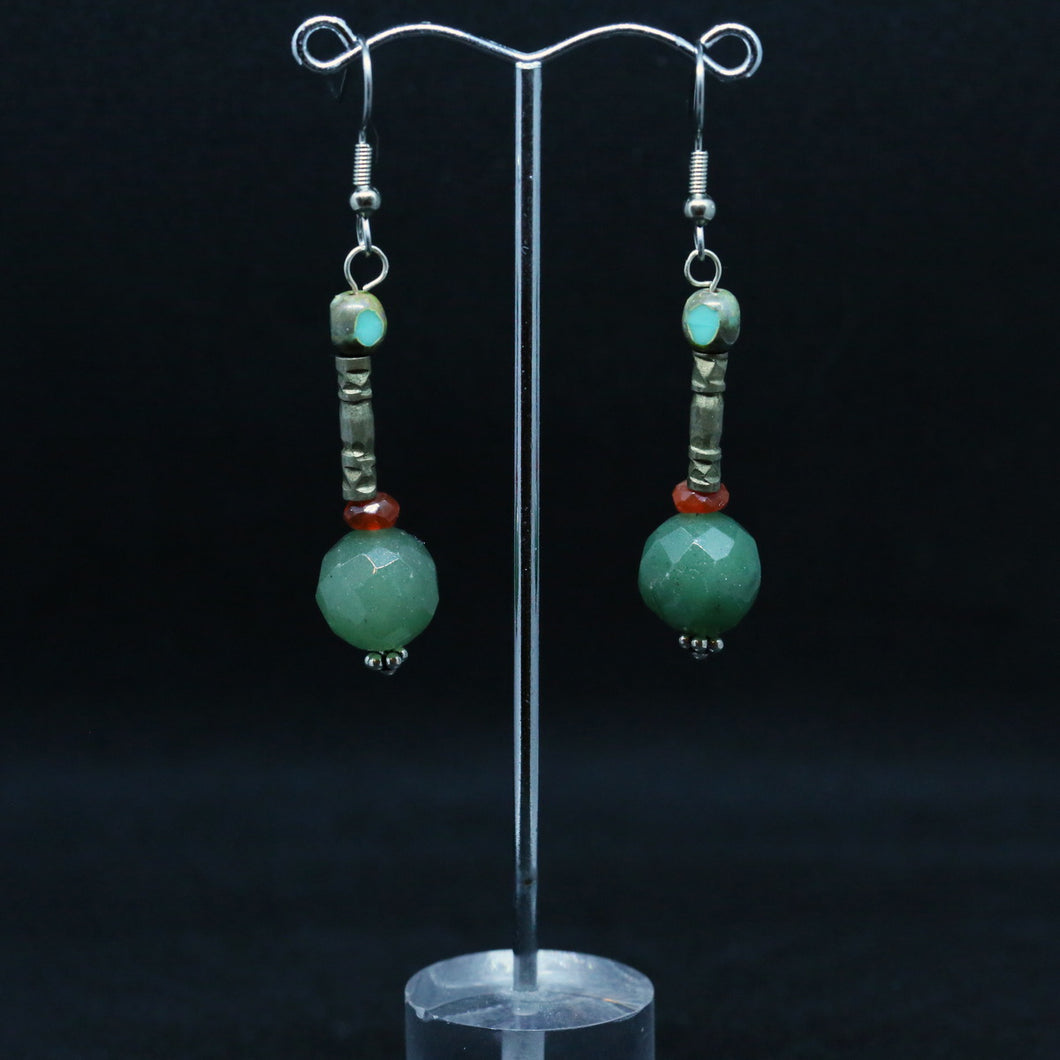 Faceted Jade Bead Earrings With Silver & Czech Glass by Christine Smalley