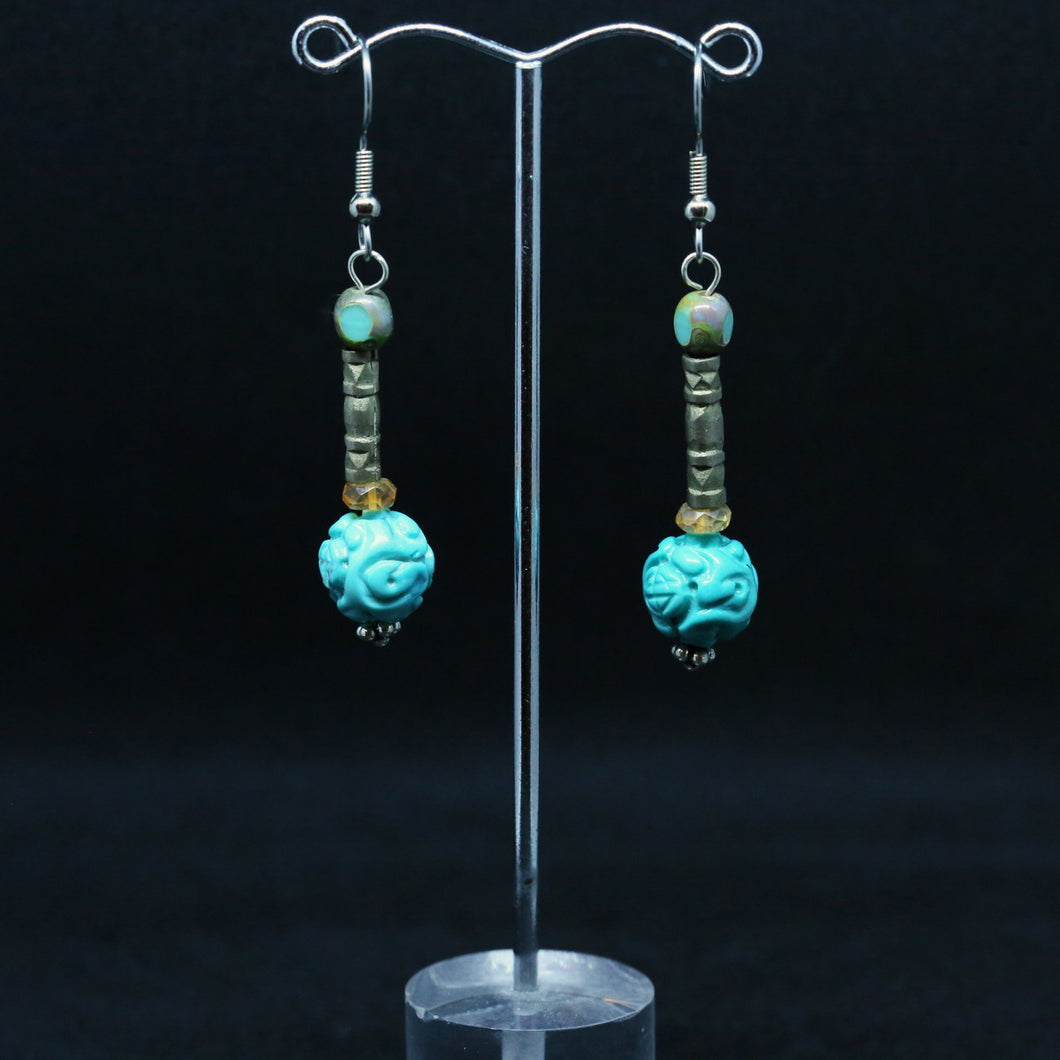 Turquoise, Silver and Glass Earrings