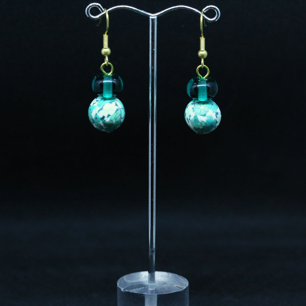 Teal Polymer and Glass Bead Earrings by Christine Smalley