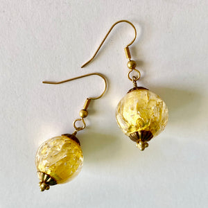 Gold Leaf Murano Bead Earrings by Christine Smalley