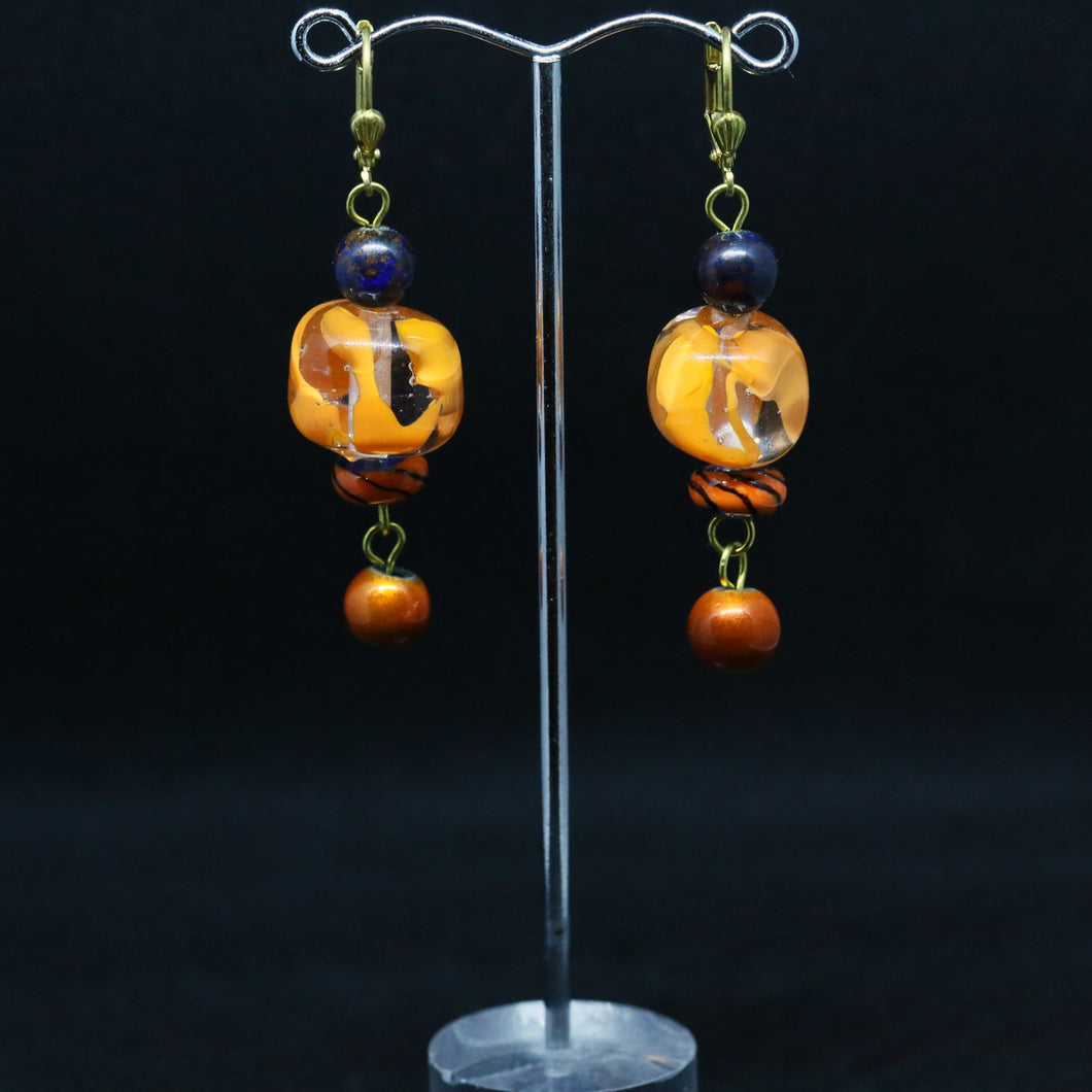 Rare Azutite Earrings with Handmade Glass Bead By Leslie Hunter-Webb