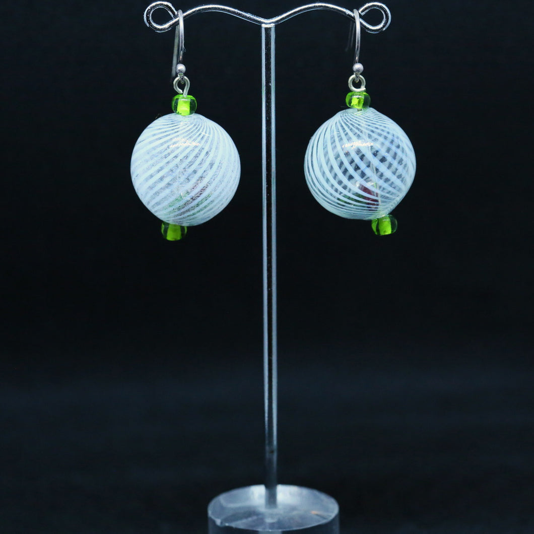 Hollow Glass Earrings with White Stripes by Susie Barnes