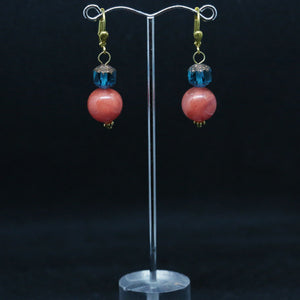 Czech Glass and Cherry Quartz Earrings