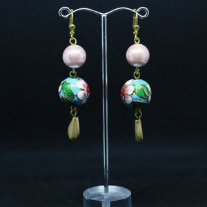 Cloisonné, Glass Pearl and Gold Earrings