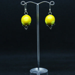 Yellow Spotted Glass Earrings By Australian Artist Leslie Hunter-Webb