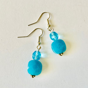 Beautiful Blue Faceted Glass Earrings by Christine Smalley
