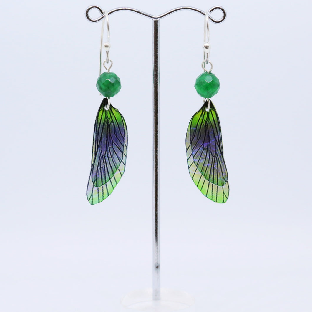 Unique Earrings with Translucent Glass Wings by Hilda Procak