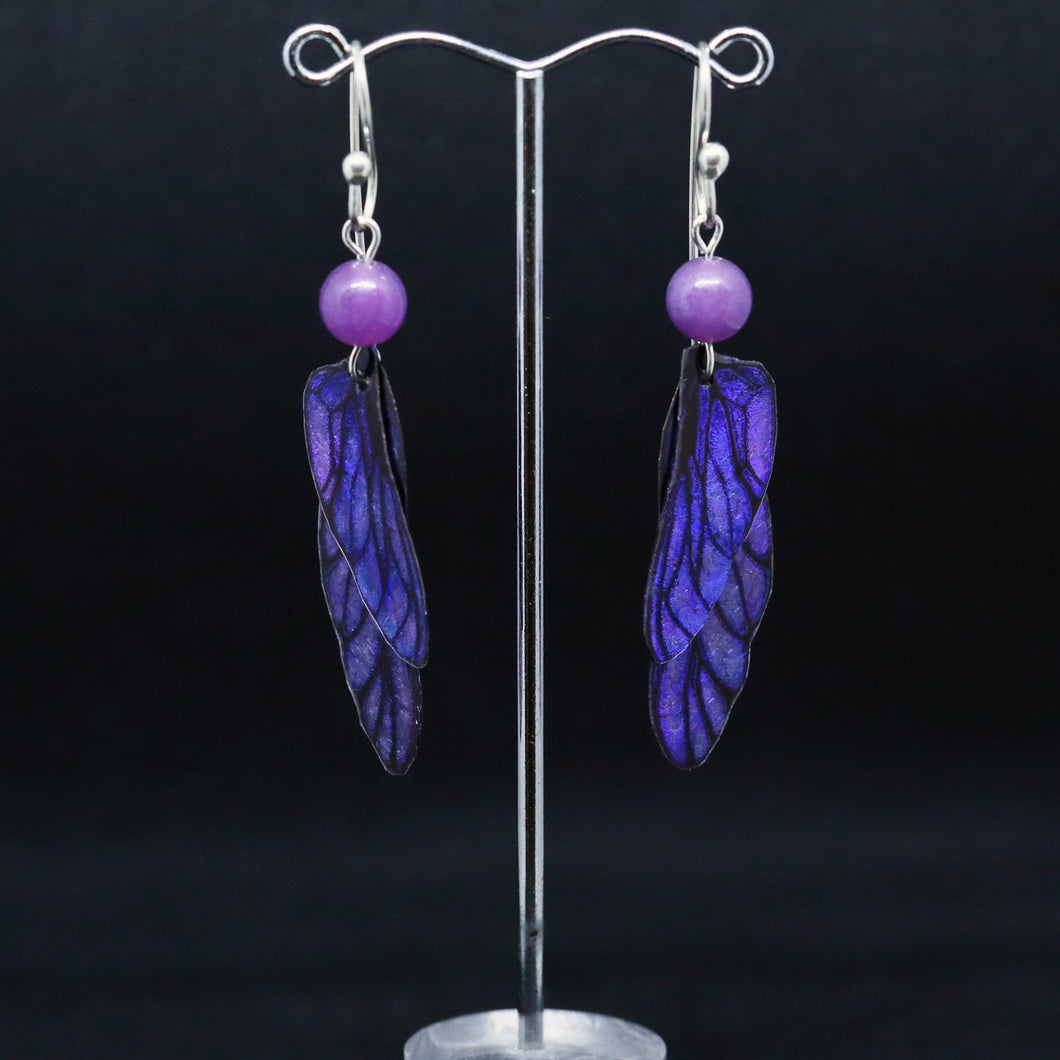 Unique Purple Earrings with Translucent Wings By Hilda Procak