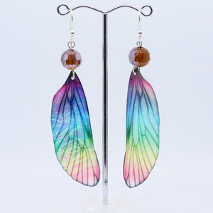 Unique Rainbow Earrings with Translucent Wings By Australian Artist Hilda Procak