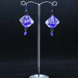 Beautiful Earrings with Blue and Bronze Glass Beads by Jan Cahill