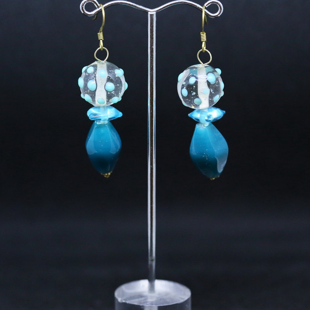 Eclectic Blue Earrings with Glass Beads by Elizabeth Bright