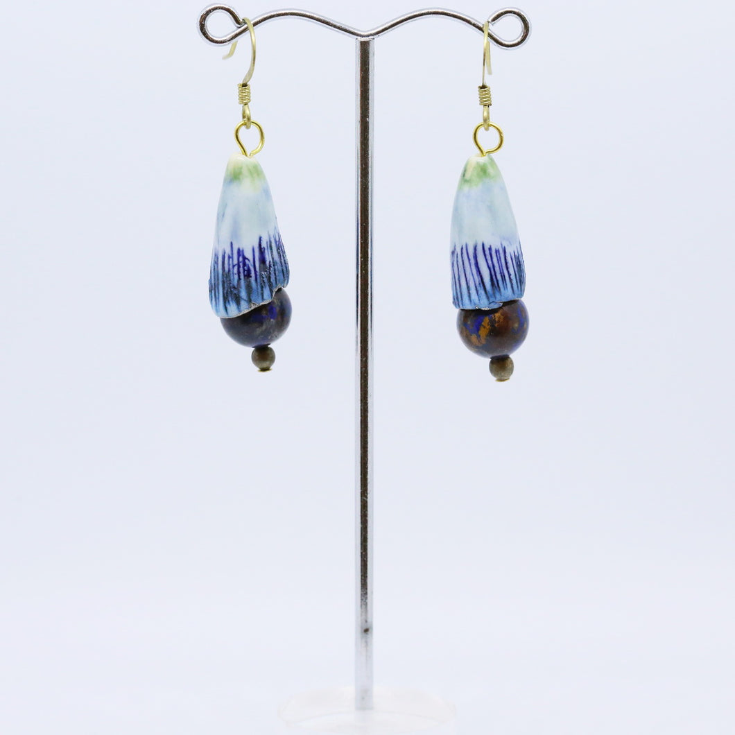 Unique Blue Earrings with Porcelain Hand-Painted Beads by Melissa Gabelle