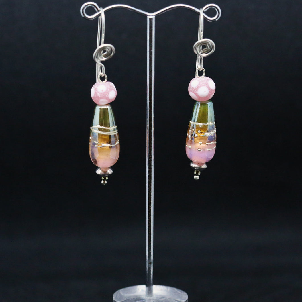 Luscious Pink and Metallic Earrings with Unique Beads by Pauline Delaney