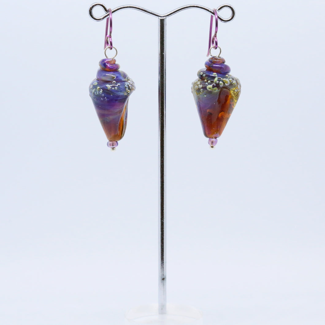 Exquisite Earrings with Handmade Glass Shells by Jan Cahill