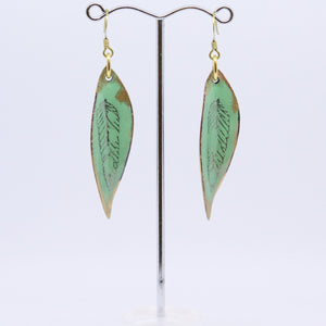 Green Leaf Copper Enamelled Earrings by Jan Rietdyk